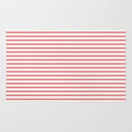 Mattress Ticking Narrow Horizontal Striped Pattern in Red and White Rug