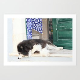 Wall art dog sleeping, street art, Portugal street, I'm lazy today......street dog and azulejos Art Print