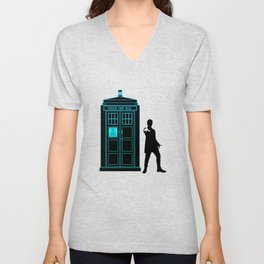 Tardis With The Twelfth Doctor Unisex V-Neck