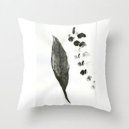 feather and finger prints Throw Pillow