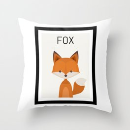 Fox Cartoon Portrait Throw Pillow