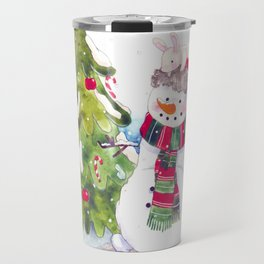 Happy new Year and marry Christmas. snowman,bunny and bird. Travel Mug