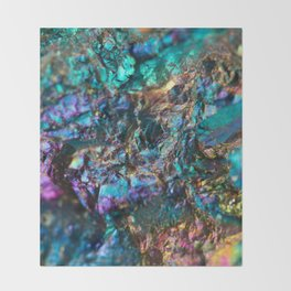 Turquoise Oil Slick Quartz Throw Blanket