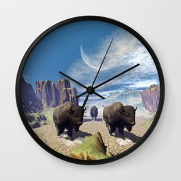 Awesome running bisons Wall Clock