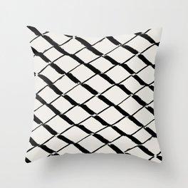 Modern Diamond Lattice Black on Light Gray Throw Pillow
