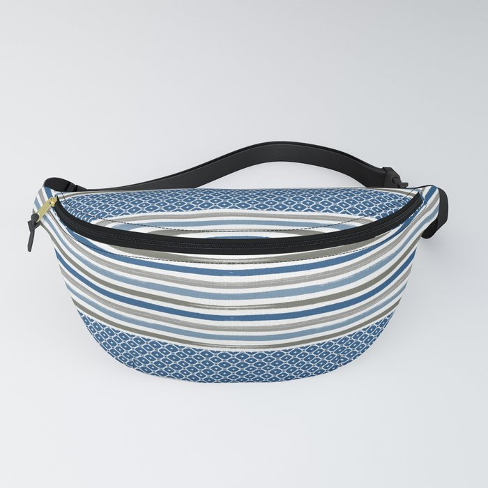 Modern Beachy Paint Brush Stripes in Blue and Putty Gray Fanny Pack