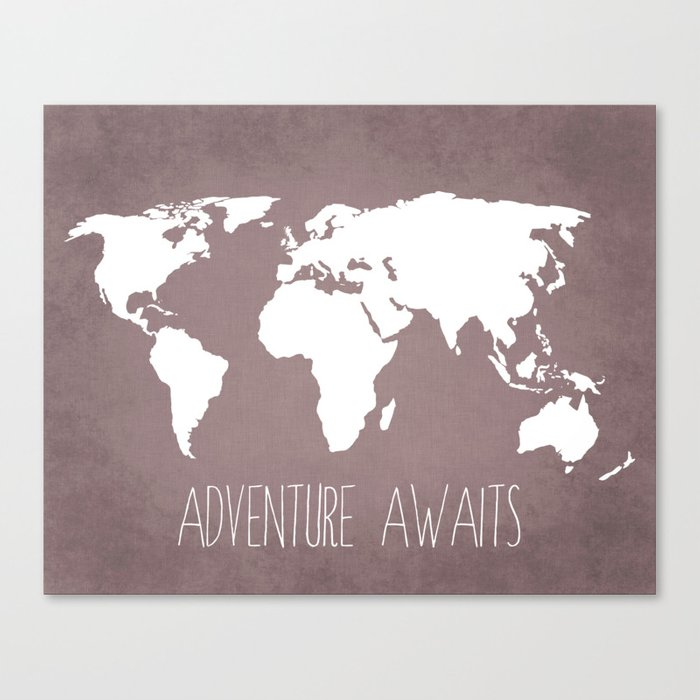 Adventure Awaits World Map Canvas Print By Bysamantha Society - Cheap world map canvas