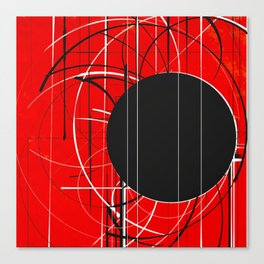 Black Dot Sticker Abstract Canvas Print