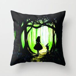 alice and rabbits Throw Pillow