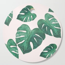 Monstera Leaves on Pink Cutting Board
