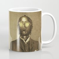 creepy Mugs featuring Baron Von Three PO  by Terry Fan