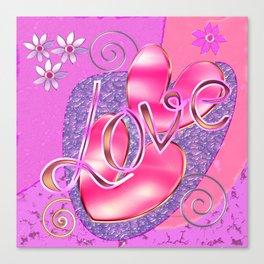Romantic Girly Glossy Hearts & Love design Canvas Print