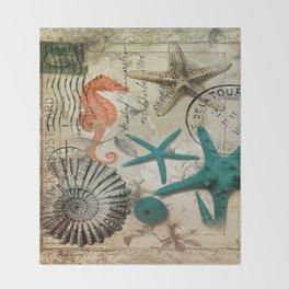 french botanical art seahorse teal green starfish Throw Blanket