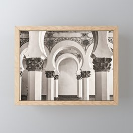 The Historic Arches in the Synagogue of Santa María la Blanca, Toledo Spain Framed Mini Art Print