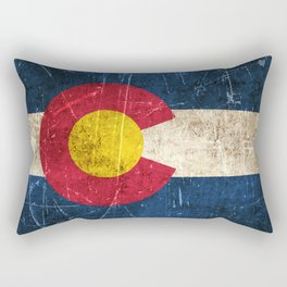 Vintage Aged and Scratched Colorado Flag Rectangular Pillow