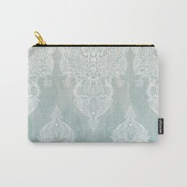 Lace & Shadows - soft sage grey & white Moroccan doodle Carry-All Pouch