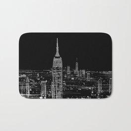 Contemporary Elegant Silver City Skyline Design Bath Mat