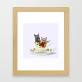Tea Cup Kitties Framed Art Print