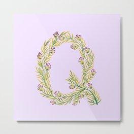 Leafy Letter Q Metal Print