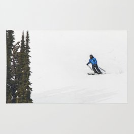 Downhill Skier - Winter Sports Scene Rug
