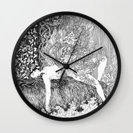 woman with burning roses Wall Clock