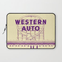 Western Auto Neon Sign In Downtown Kansas City Laptop Sleeve