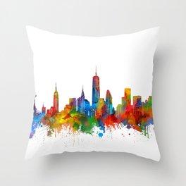 new york skyline watercolor Throw Pillow