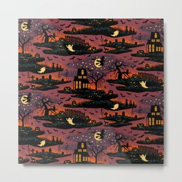 Halloween Night - Bonfire Glow Metal Print