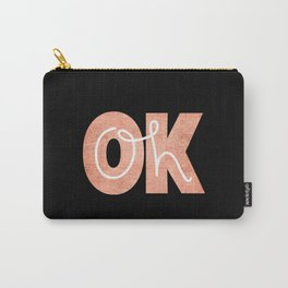 Oh Ok - Rose on Black Carry-All Pouch
