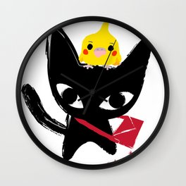 Yeux Du Chat Noir Wall Clock
