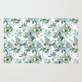 Country white green rustic watercolor floral Rug