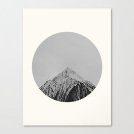 Mid Century Modern Round Circle Photo Grey Minimalist Monochrome Snow Mountain Peak Canvas Print