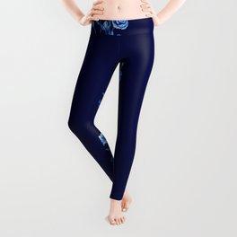 blue rose Leggings