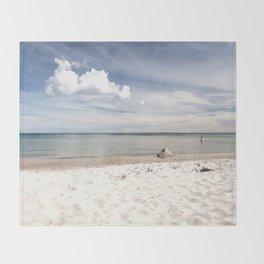 Dream beach Sea Ocean Summer Maritime Navy clouds Throw Blanket