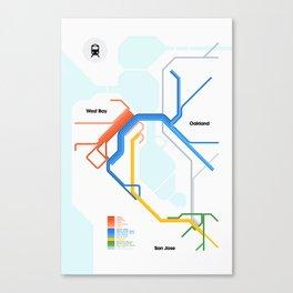 Bay Area Rail Map Canvas Print