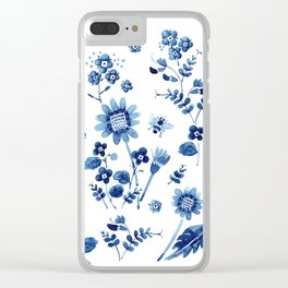 Spring wild flowers & Bee Clear iPhone Case