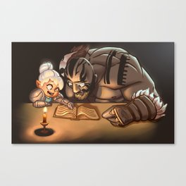 Grog attempts to learn to read Canvas Print