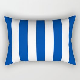 Dark powder blue - solid color - white vertical lines pattern Rectangular Pillow