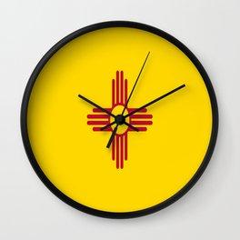 flag new mexico-usa,america,sun,Zia Sun symbol,New Mexican,Albuquerque,Las Cruces,santa fe,roswell Wall Clock
