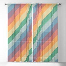 Retro Rainbow Stripes Sheer Curtain
