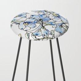 Blue Delphinium Flowers Counter Stool
