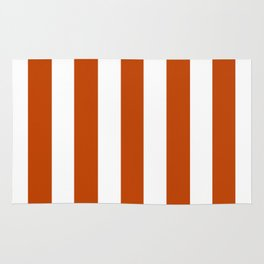 Mahogany red - solid color - white vertical lines pattern Rug