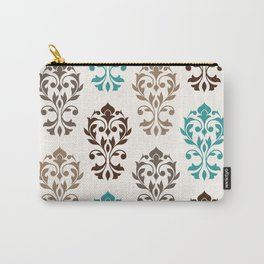 Heart Damask Art I Browns Teal Cream Carry-All Pouch
