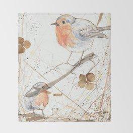 Kleine rote Vögelchen (Little red birdies) Throw Blanket