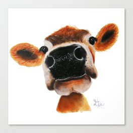 Nosey Cow ' JERSEY JOY ' by Shirley MacArthur Canvas Print
