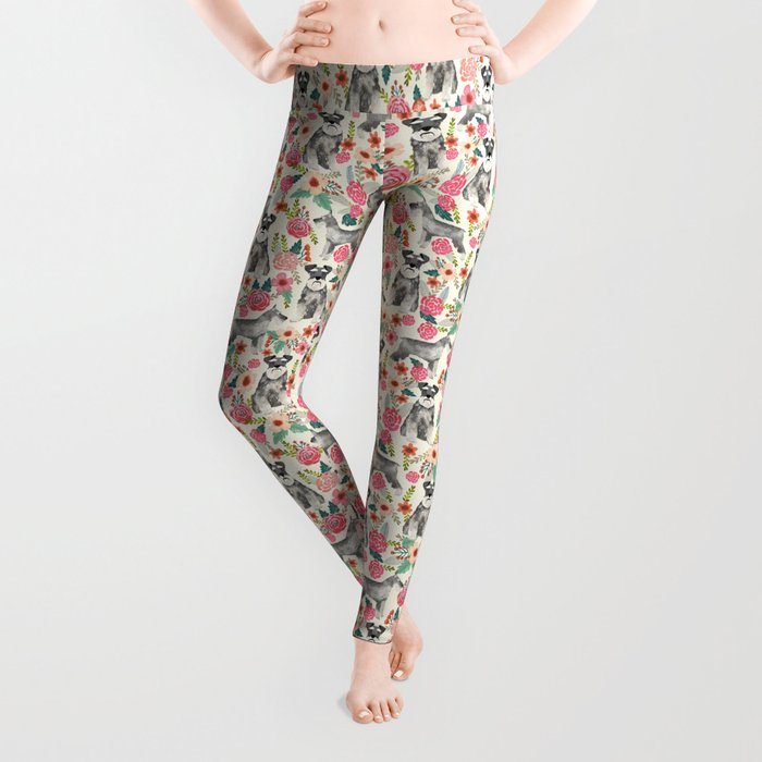Schnauzer florals dog must have gifts for schnauzers pure breed Leggings