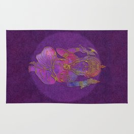 Ganesha hindu god watercolor gold purple art Rug
