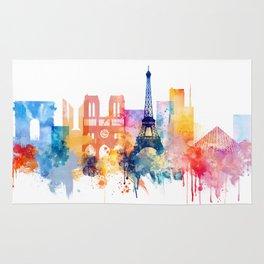 Paris Watercolor skyline Rug