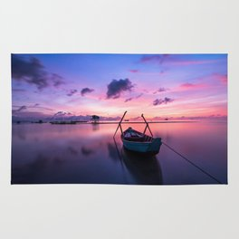 Rowboat and Sunrise on the Water Rug