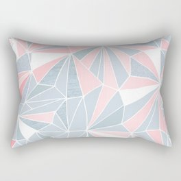 Cool blue/grey and pink geometric prism pattern Rectangular Pillow